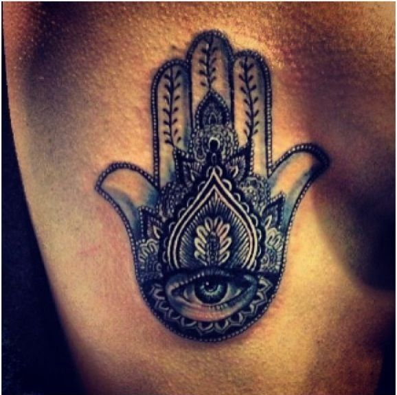 Hindu Hamsa hand tattoo abs in love with this, definitely wanting something like this centered just below my bra line