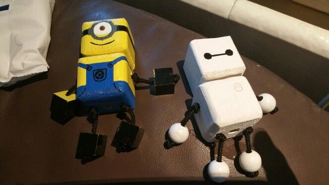 Minion and Beymax - wood toy, natural wood, wood robot, DIY toy #woodtoy