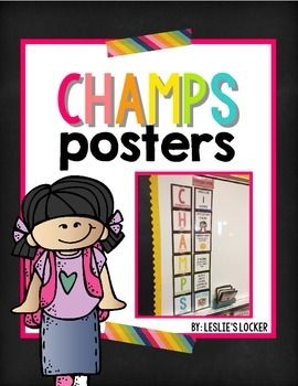 This is a bright bulletin board set to help you implement the CHAMPS program into your classroom.