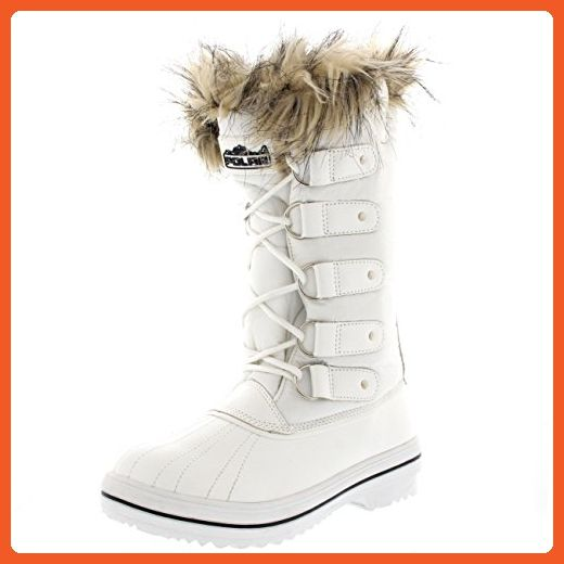 Womens Fur Cuff Lace Up Rubber Sole Tall Winter Snow Rain Shoe Boots - 10 - WHN41 YC0056 - Boots for women (*Amazon Partner-Link)