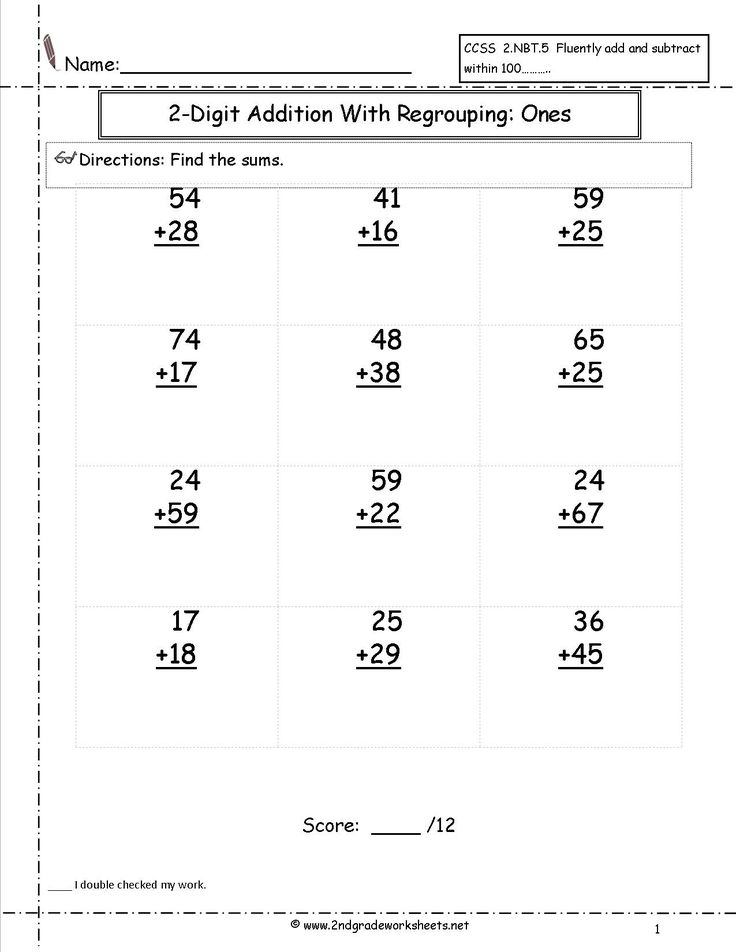 two digit addition with regrouping worksheet (With images