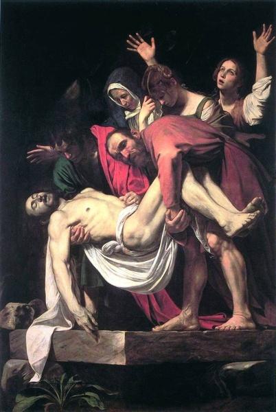 """2005.12 // Caravaggio (Michelangelo Merisi) """"Złożenie do grobu"""", olej na płótnie, 1602–1603, Pinakoteka Watykańska"""