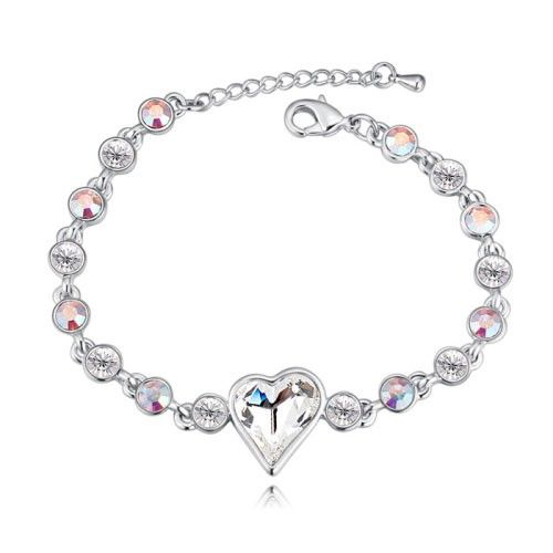 $14,2 Sweet heart Swarovski crystal bracelet - Yohanna Jewelry Wholesale. BEST PRICE: Directly in the jewelry factory. VAT-free shopping: Available, partners based in the European Union, only applies to EU tax identification number (UID). Exclusive design SWAROVSKI crystals and AAA Zircon crystal jewelry and men's stainless steel jewelry and high-quality stainless steel jewelry for couples sell in bulk to resellers! Please contact us.