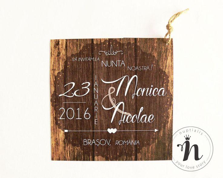 """Invitatii nunta moderne, rustice cu fundal de lemn – """"HERMIA"""""""