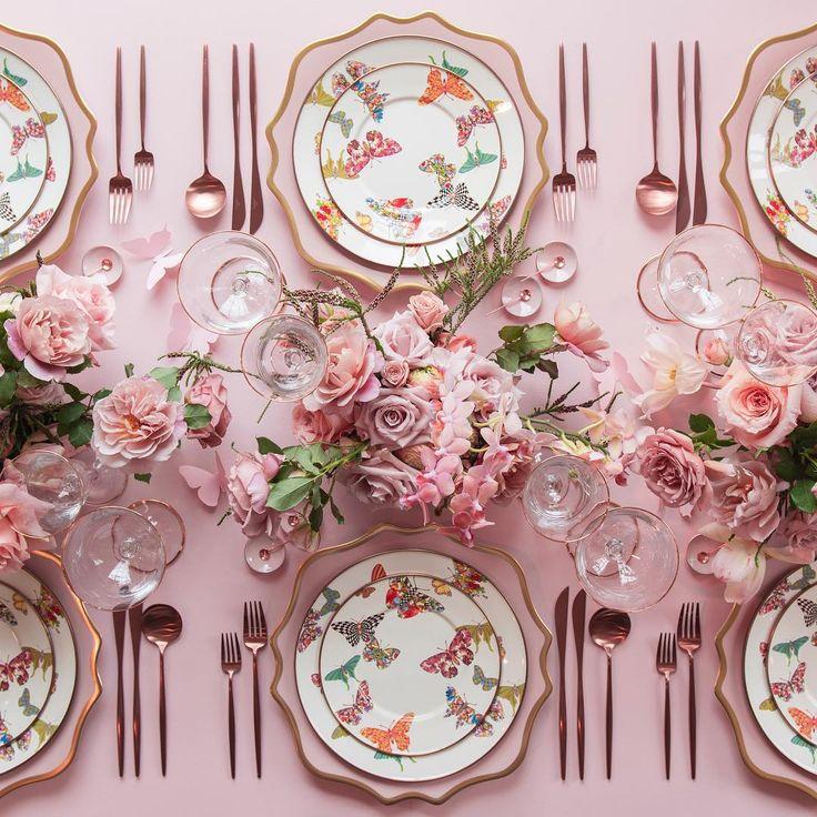 Anna Weatherley Chargers in Desert Rose + MacKenzie-Childs Butterfly Garden Collection + Moon Flatware in Rose Gold + 24K Gold Rimmed Stemware + Pink Enamel on Copper Salt Cellars + tiny Copper Salt Spoons [Casa de Perrin]