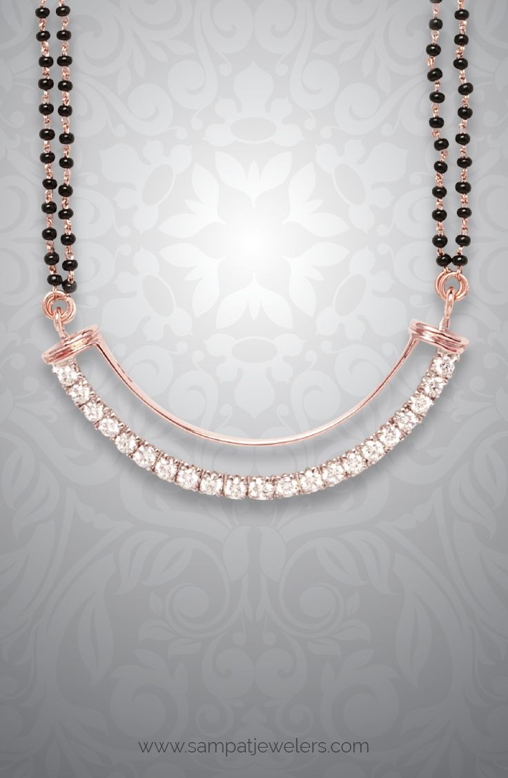 Arc Mangalsutra, rose gold mangalsutra, Simple Mangalsutra design, Diamond Mangalsutra