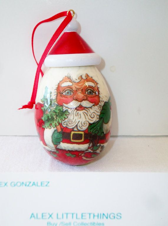 Vintage Santa Egg Christmas Ornament by ALEXLITTLETHINGS on Etsy