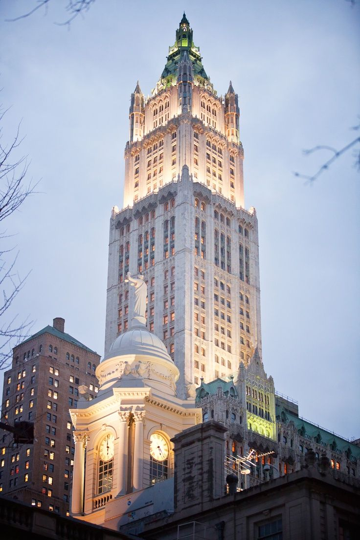The Woolworth Building, 233 Broadway, Financial District, Lower Manhattan, NYCArchitect Cass Gilbert/financed by F.W. Woolworth. It was the tallest building in the world when completed in 1913.