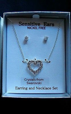 Sensitive ears nickel free crystals from Swarovski earring and necklace set