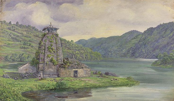 This is the water colour painting of Bhim Tal Kumaon, India. July 30, 1878. The present temple was built in 17th century, by Baz Bahadur (1638-78 AD), a King of the Chand dynasty and the Raja of Kumaon. Bhimtal Lake is about 22 kms from Nainital. The beauty is enhanced by a small Island surrounded by crystal blue water. Bhimtal & Bhimtal lake is very beautifull place to visit in uttarakhand & people visit this famous hill station in uttarakhand.
