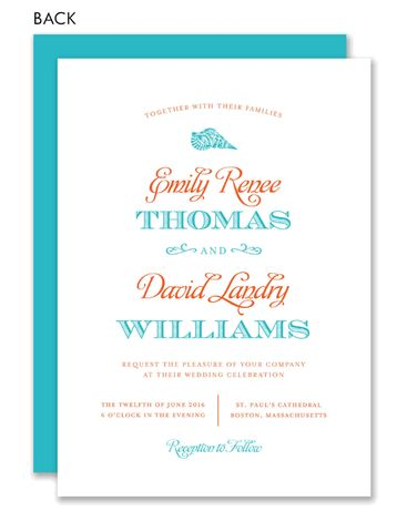 Love By the Sea Aqua and Coral Wedding Invitation by Noteworthy Collections at InvitationBox.com
