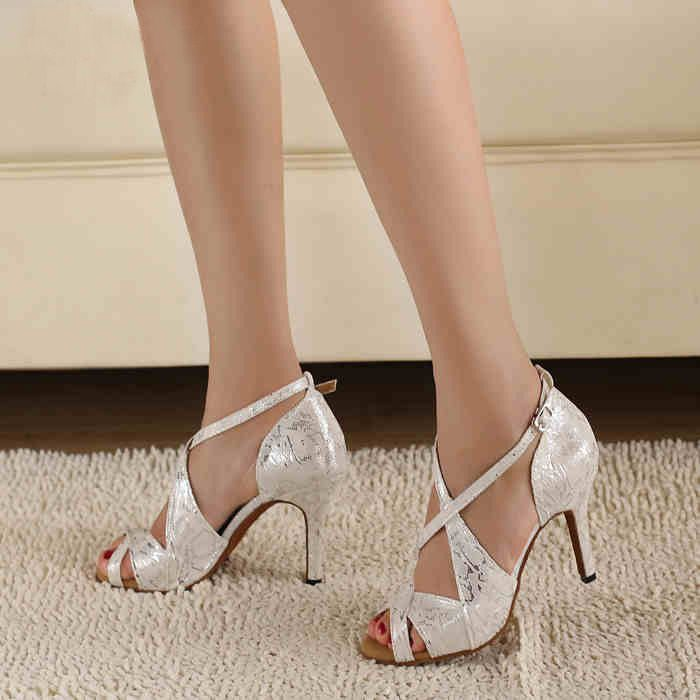 Fashion Silver grain White Satin PU Latin dance shoes spot  Female Tango Samba Salsa shoes Ballroom dance shoes Sandal for women $33.39