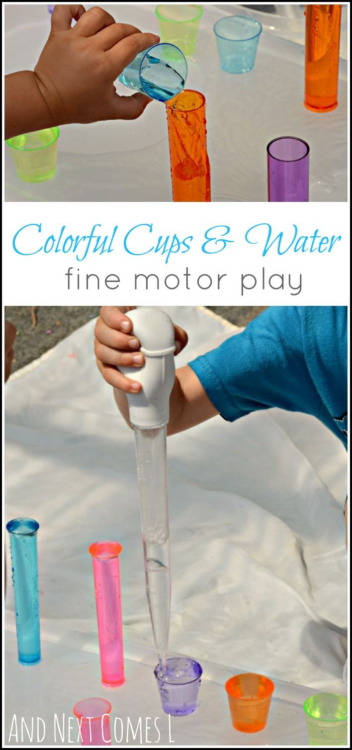 Fine motor sensory play for toddlers and preschool kids using colorful cups and water from And Next Comes L
