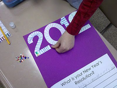 """""""Fun in First""""  passes out the numbers 2012, students glue them onto their papers and decorates them with crayons, glitter, and sequins."""