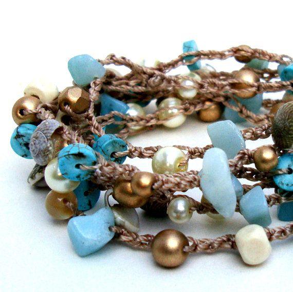 Impacco di corda alla moda spiaggia Crochet braccialetto surfista Chic con perline avvolgere a strati collana conchiglia turchese avorio oro estate fashion