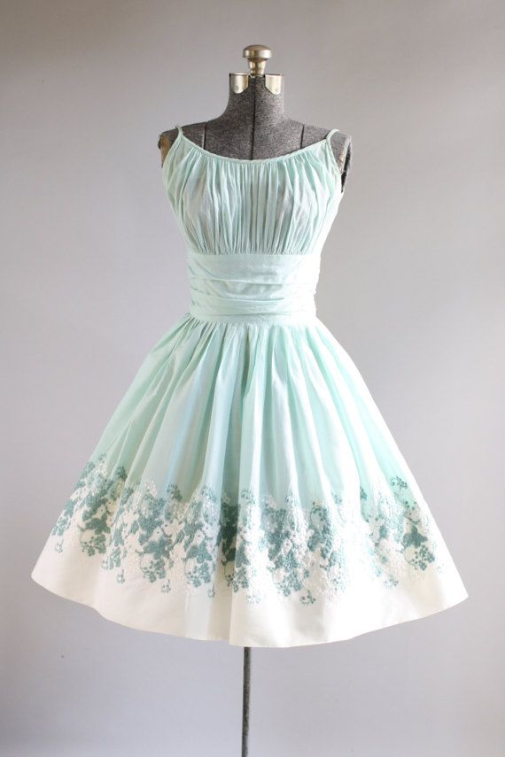 Vintage 1950s Dress / 50s Cotton Dress / Turquoise Floral Embroidered Dress w/ Ruching S