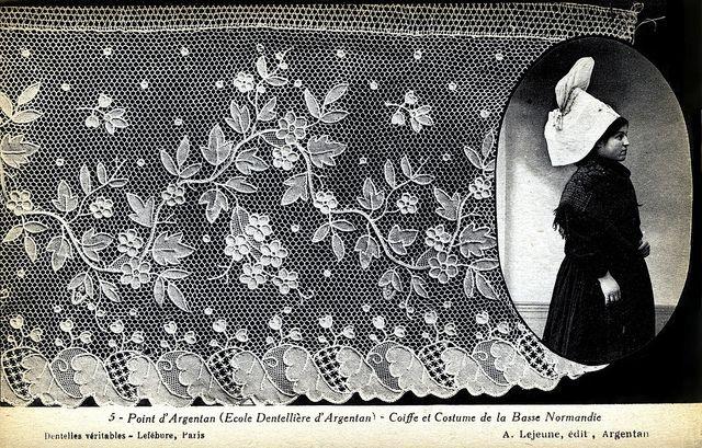 Point d'Argentan (Ecole Dentelliere d'Argentan) - Coiffe et Costume de la Basse Normandie    Postcard