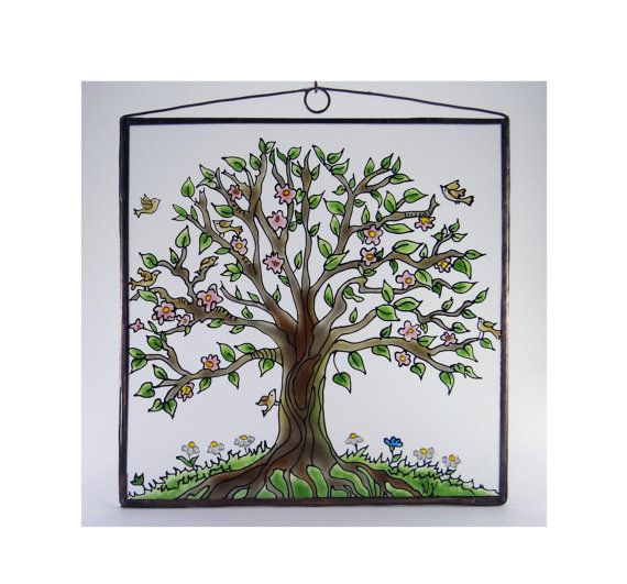 Tree of Life 4  Painted Glass by KorinArt on Etsy