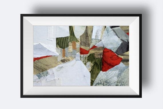 Original Abstract Collage contemporary expressionist by KowashiArt
