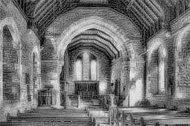 The depth of cross hatching and complexity of shading make this sketch very realistic to that of the textures within a church.