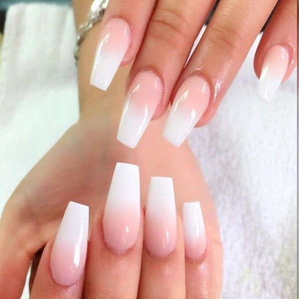 Best 25 White Coffin Nails Ideas On Pinterest Matte Nails Acrylic Liked On Polyvore Featu Natural Acrylic Nails Long Acrylic Nails Ombre Acrylic Nails