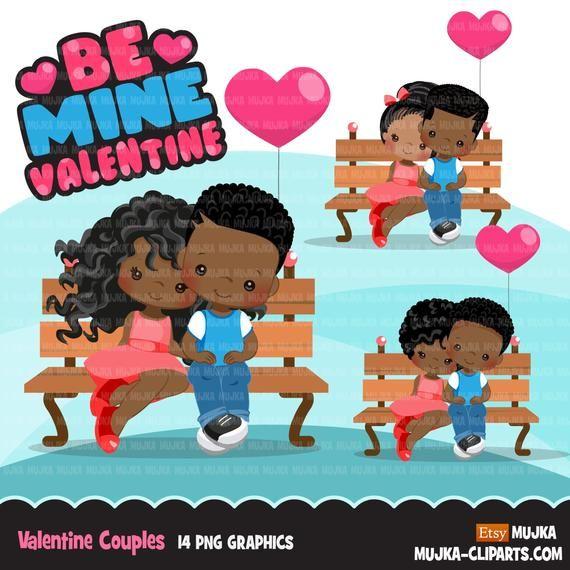 Valentine S Day Clipart Cute Valentine Black Kids Etsy In 2021 Valentines Day Clipart Valentine Clipart Valentine