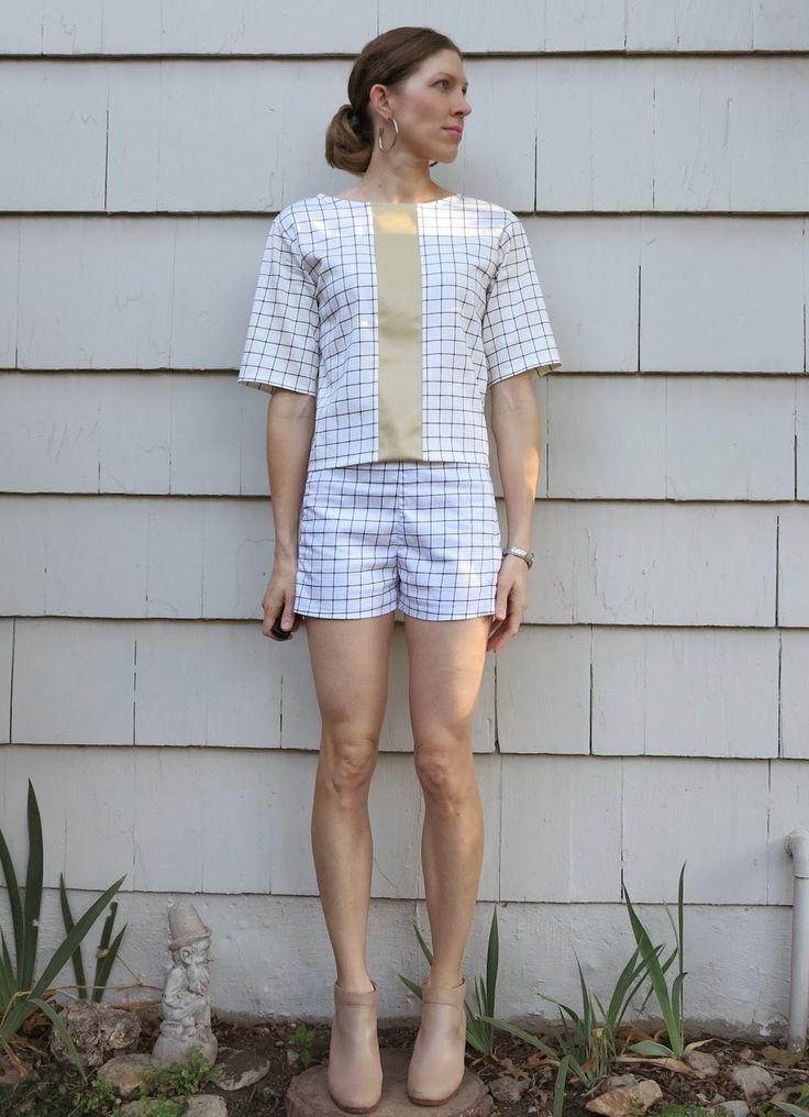 Lily Sage & Co: Cynthia Rowley vs grid lines matching shorts top Esther shorts Tessuti fabrics