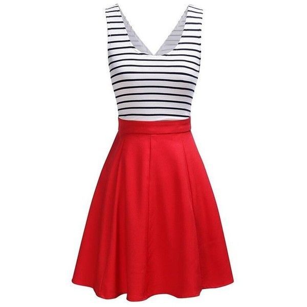 Back Faux Wrap Cutout Stripe Skater Dress (69 BRL) ❤ liked on Polyvore featuring dresses, striped skater dress, day summer dresses, cut-out dresses, cutout dresses and striped dress