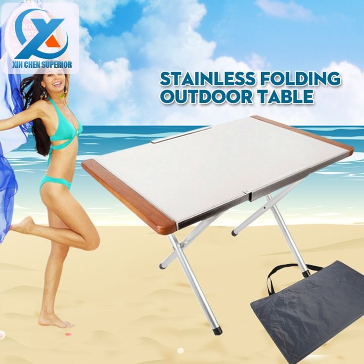 (34.00$)  Watch more here - http://aiqr2.worlditems.win/all/product.php?id=32587292561 - 567*355*350mm Camping Portable Folding Table Stainless Steel Metal Picnic Tables for Outdoor Garden Furniture Fast Shipping