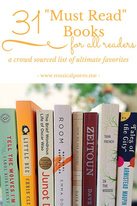 "31 ""Must Read"" Books: A crowd sourced list of ultimate favorite books. A master list of books worth reading! 
