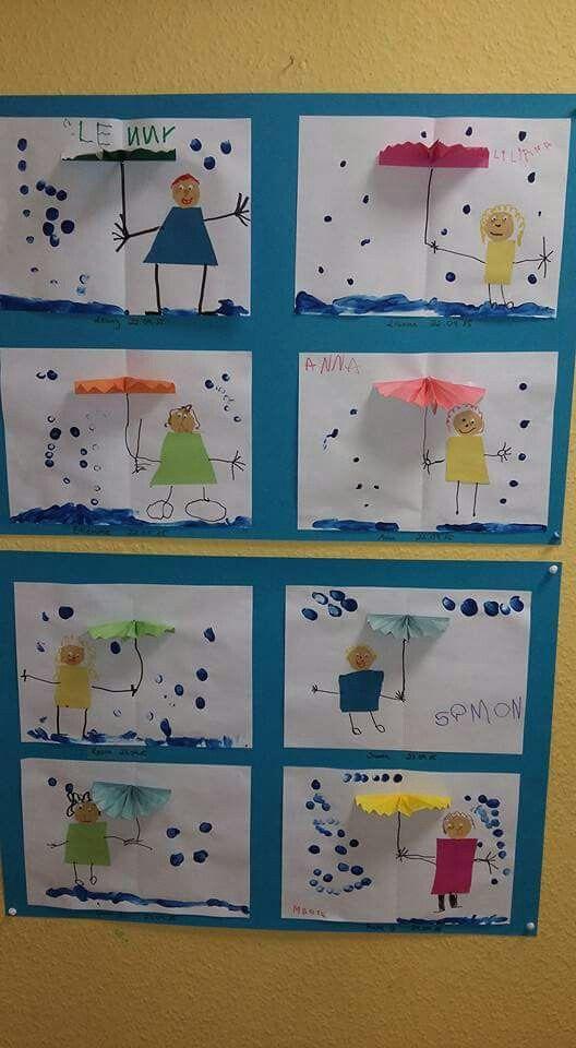 Regenbilder als Aufklappkarte mit Regenschirm. <3