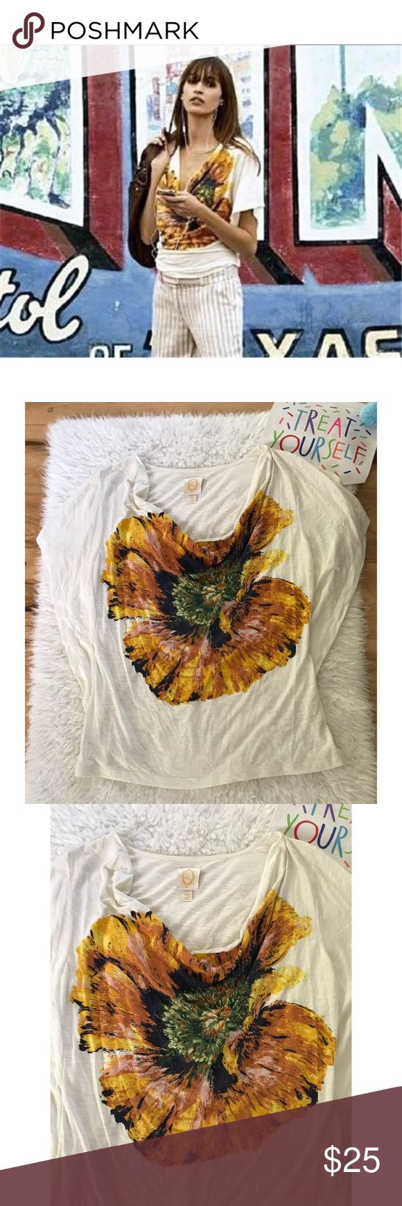 "Anthropologie Ric Rac Poppy Floral Dolman Blouse Still in great pre-loved crowl Neckline Blouse soft tee from Anthropologie in size large. Dolman sleeves. No major flaws. Measure about 24"" sleeves, 18"" pit to pit. ❌No trades or modeling. Always open to reasonable offers. Bundle and save 15%. Thank you‼️ Anthropologie Tops Tees - Short Sleeve"