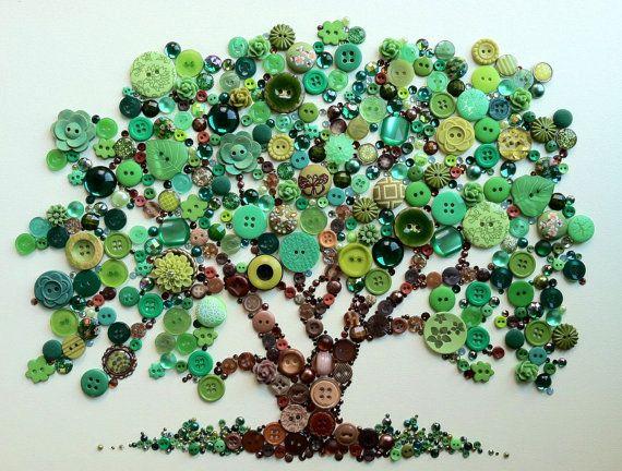 Tree of Life Button Art with Swarovski Rhinestones by BellePapiers, $124.00
