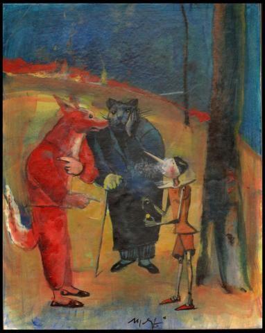 Il Gatto e la Volpe | Madiai Mario | Letteratura | Dipinti Contemporanei