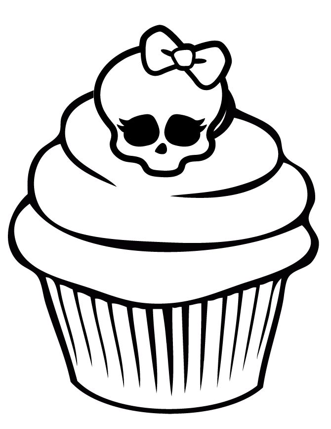 Printable Skull Coloring Pages Monster High Skullette Cupcake
