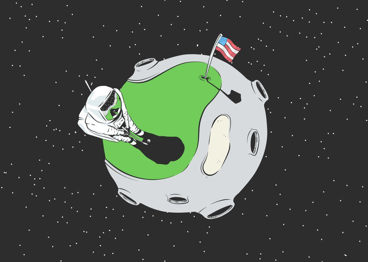 Astronaut Alan Shepard's golfing antics on the moon were the primary inspiration for this illustration. The high point of view and curvature of the moon made for an interesting composition.