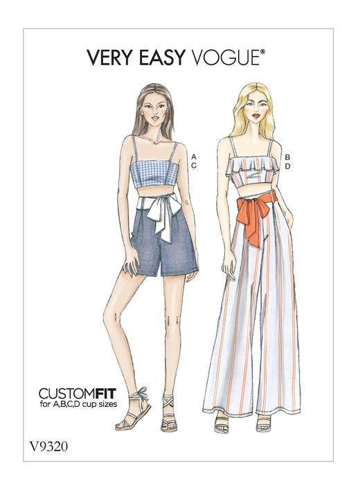 bd0f5259ad V9320 | Misses' Top, Shorts and Pants Sewing Pattern | Vogue Patterns