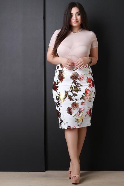 Floral Print High Waist Pencil Midi Skirt for $35.24 at KenKay Apparel