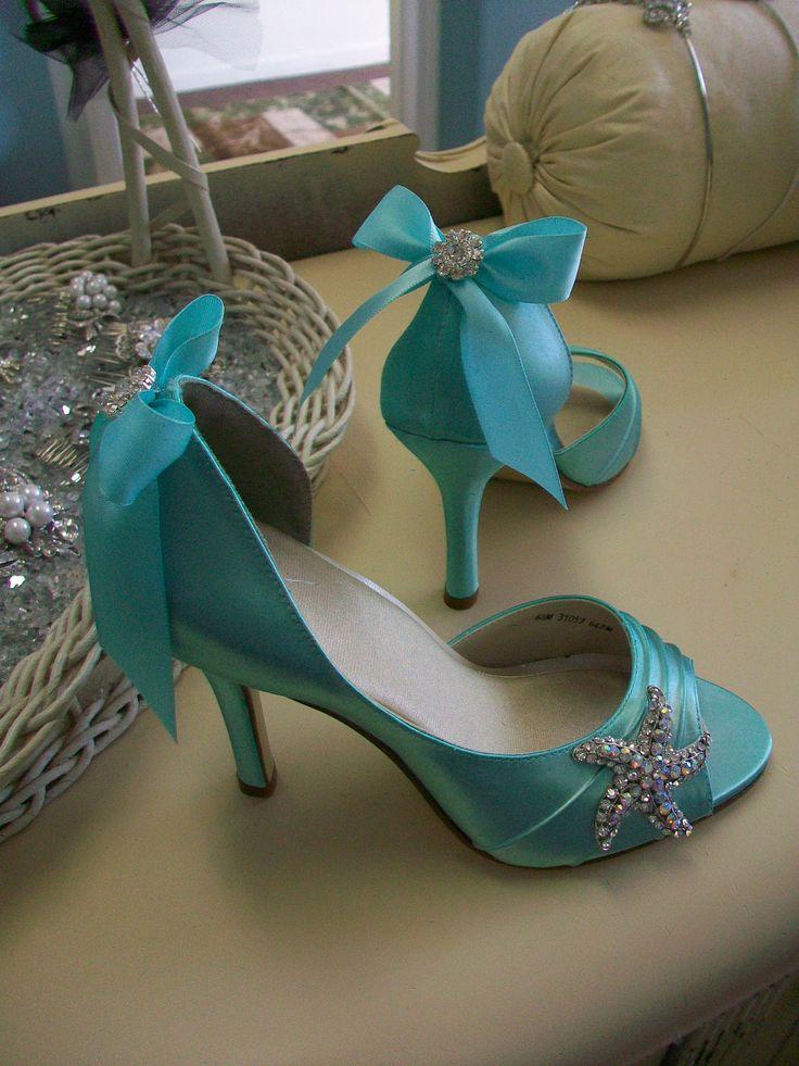 Heatherhutchcock1 Blue Wedding Shoes Beach Wedding Wedding Bridal Bride High Heels Prom Special Occasion Peep Toe The Mermaid Shoe. $184.00, via Etsy.