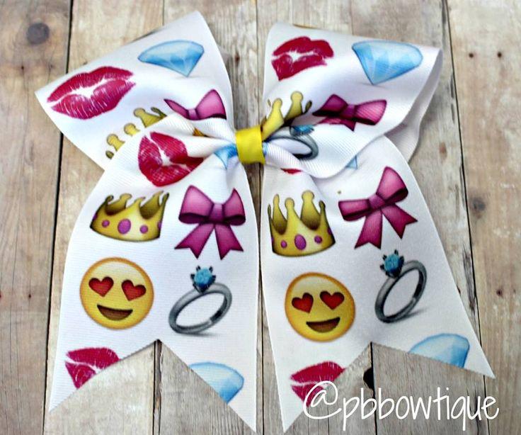 Emoji Love Cheer Bow or Softball Bow