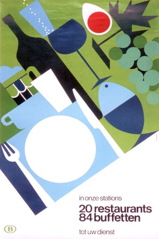Abstracción - In onze stations 20 restaurants, 84 buffetten tot uw dienst by Louis Stryckman, 1976