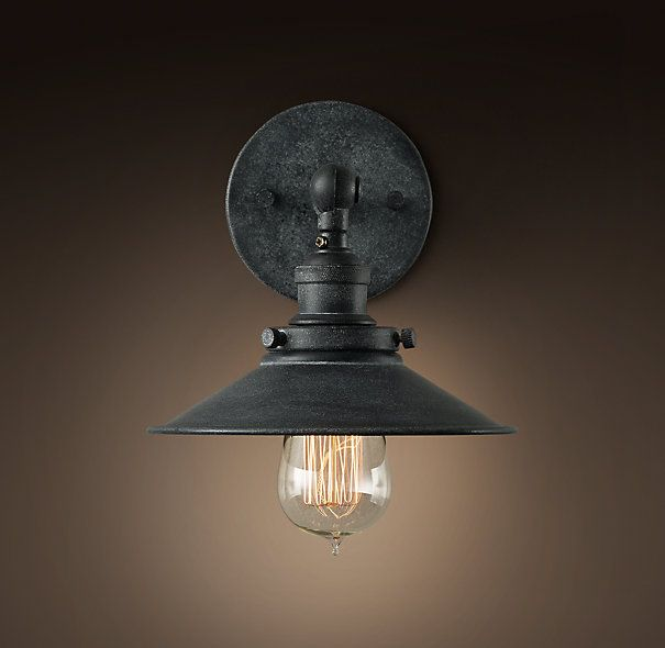 bathroom lighting restoration hardware 20th c factory sconce rec room bath basement 24 quot left 16143
