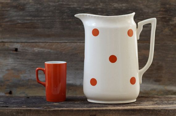 Vintage Norsk Flint Egersund Pottery Water Pitcher - Norway via Etsy