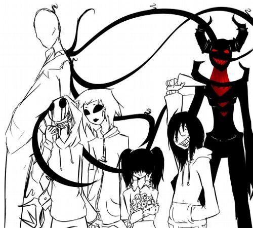 All creepypasta: Slenderman,Zalgo,Jeff the killer,Jack Eyeless,Masky,Sally.