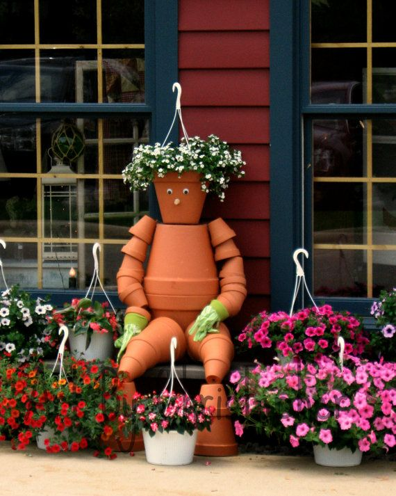 Flower Pot Man, flowers, terra cotta pots, color, orange, 8x10, fine art photgraphy.