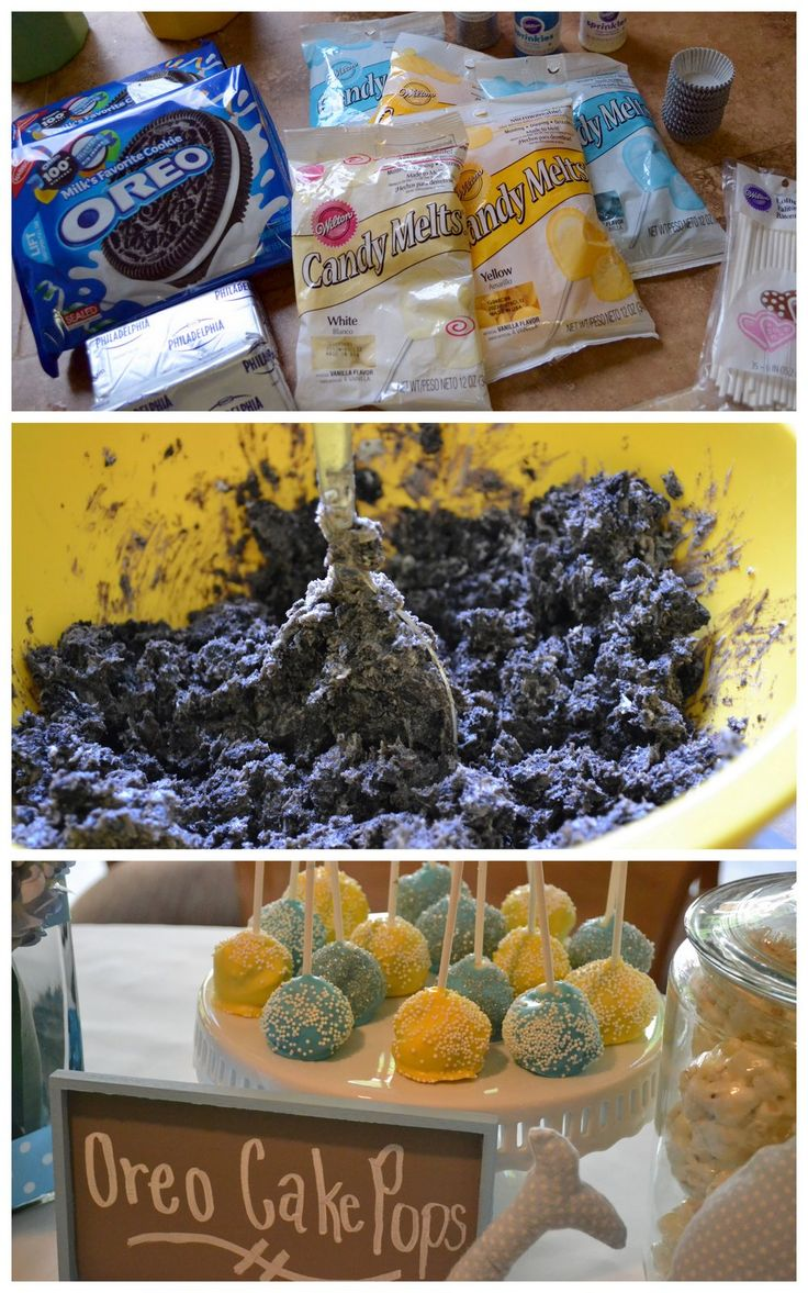 Whale Baby Shower for Nina and Collin Oreo cake pops