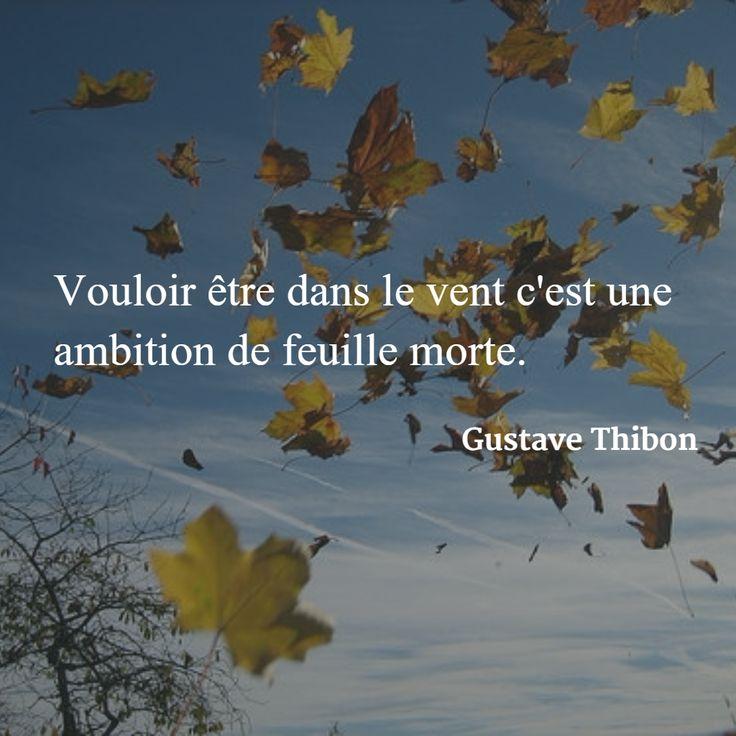 Vouloir être dans le vent c'est une ambition de feuille morte. (Gustave Thibon) #citation #mode