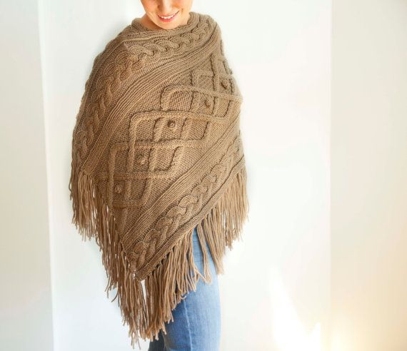 Beige Cable Knit Poncho by Afra by afra on Etsy