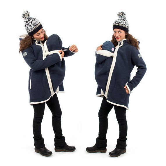 Jacke Mit Babyeinsatz Winterfleece Umstandsmantel In Marine Natur Arctica Tragemantel Schwangerschaftsmantel Tragejacke Rain Jacket Windbreaker Jackets