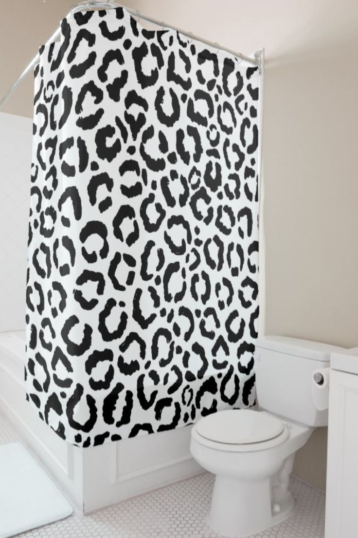 Modern Black White Leopard Animal Print Pattern Shower Curtain Zazzle Com In 2020 With Images Black And White Decor Black White Bathrooms Patterned Shower Curtain
